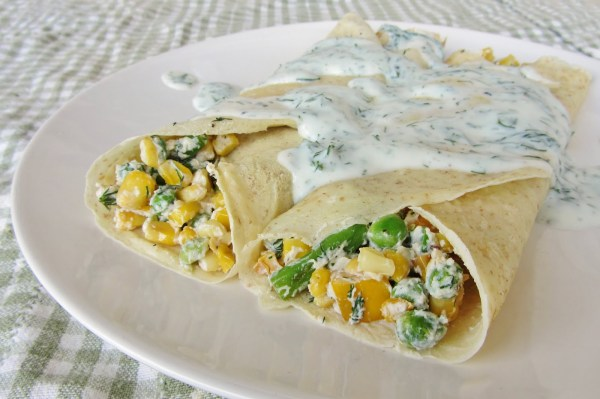 8 - summer veg crepes w dill yogurt sauce